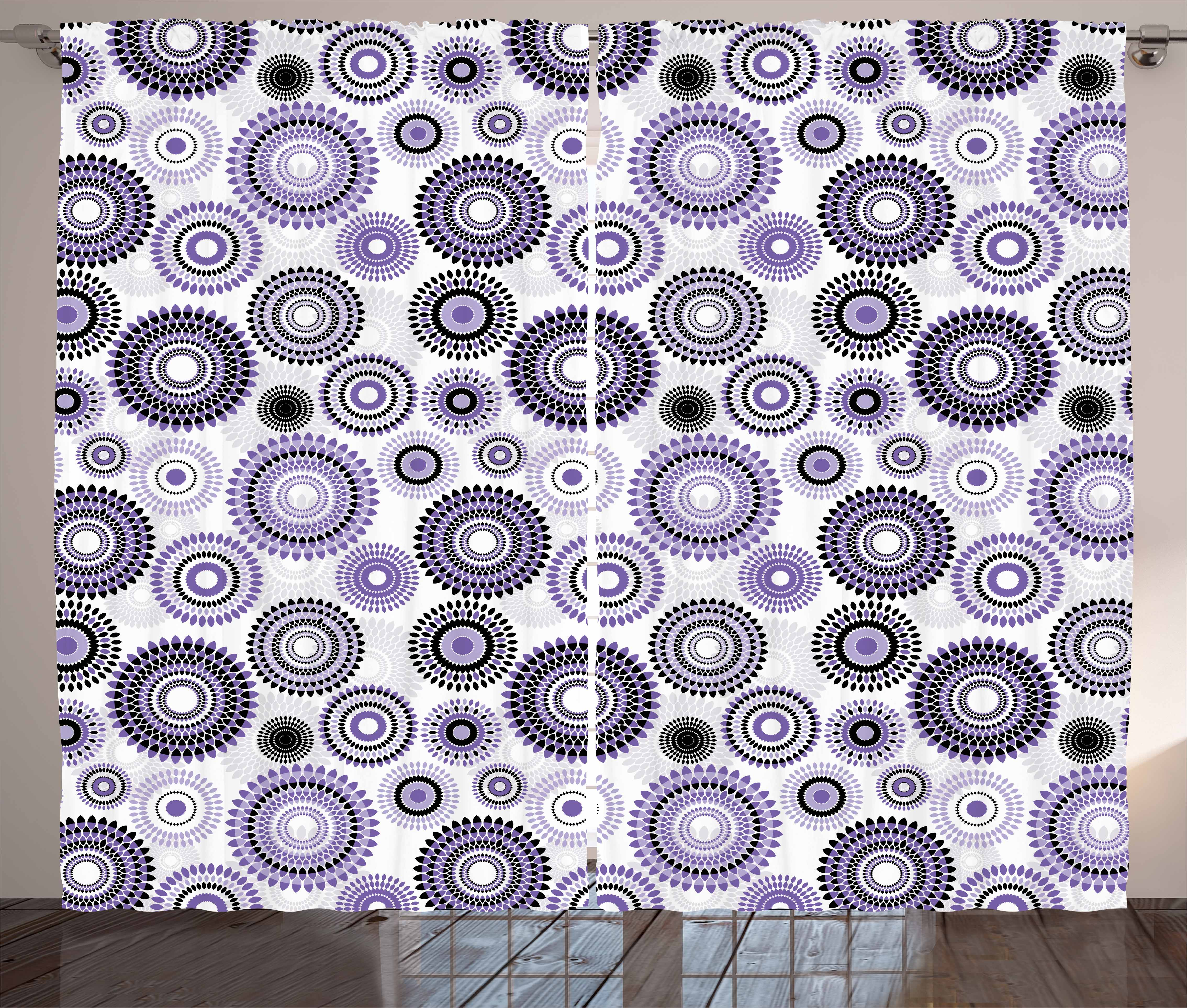 Purple And Black Curtains 2 Panels Set, Scattered Round Figures Big And  Small With Mandala Inspired ...