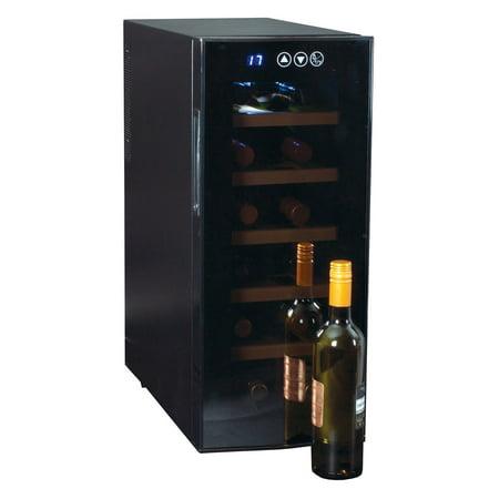 Koolatron 12 Bottle Deluxe Single Zone Wine Cooler with Wood Sliding Shelves