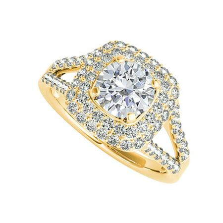 CZ Split Shank Halo Engagement Ring in 14K Yellow Gold - image 1 de 2