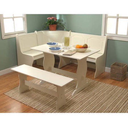 Breakfast nook 3 piece corner dining set antique white for Eating tables for small spaces