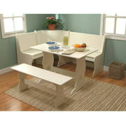Breakfast Nook 3 Piece Corner Dining Set Antique White