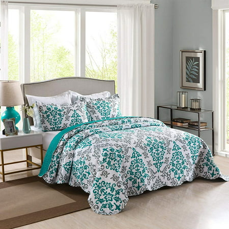 MarCielo 3 Piece Quilted Bedspread, Printed Quilt, Quilt Set Bedding Throw Blanket Coverlet Oversize Lightweight Bedspread Ensemble, Turquoise, Queen Size, Katrina Blue New Home Queen Size Quilt