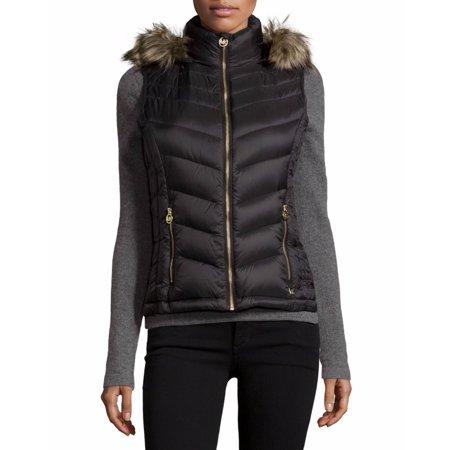 MICHAEL MICHAEL KORS Woman's Black Chevron Quilted Faux Fur Hooded Puffer Vest