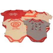 Baby Girls Red Orange Anchor Boat Stripe Print 5 Pcs Bodysuit Set 3M