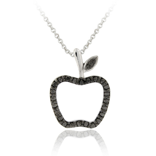 Sterling Silver Black Diamond Accent Apple Slide Pendant