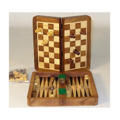 Chopra Foldable Board Game Set - Backgammon and Chess