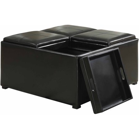 Simpli home avalon coffee table storage ottoman with 4 serving trays Ottoman coffee table trays