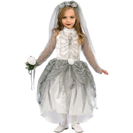 Children's Skeleton Bride Costume White And Gray Girls Wedding Costume - Girl Bride Costume