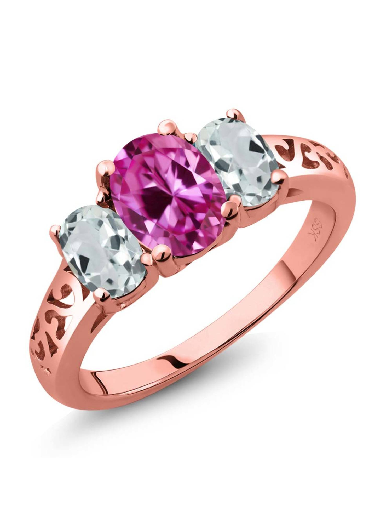 2.51 Ct Pink Created Sapphire Sky Blue Aquamarine 18K Rose Gold Plated Silver 3-Stone Ring by