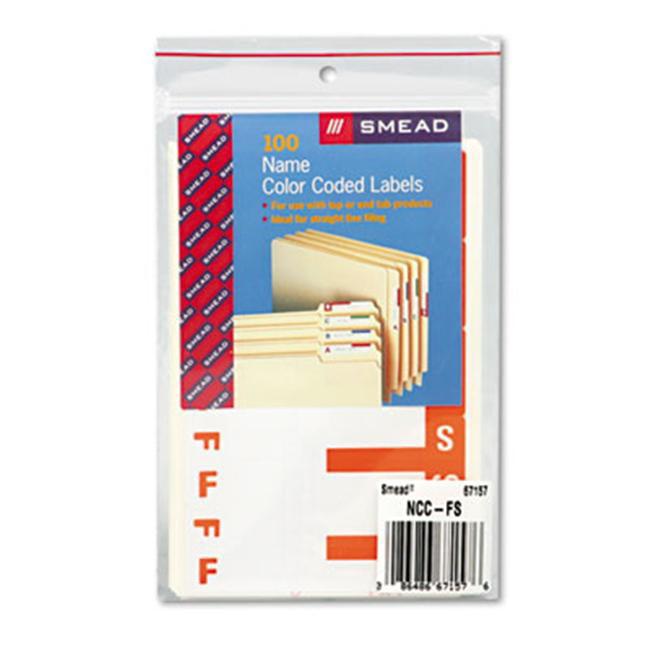 Smead 67157 Alpha-Z Color-Coded First Letter Name Labels- F & S- Orange- 100/Pack