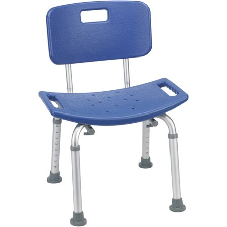 Drive Medical Bathroom Safety Shower Tub Bench Chair With Back  Blue