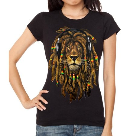 Junior's Dreadlock Rasta Lion Headphones Black T-Shirt Large Black](Rasta Dreadlocks)