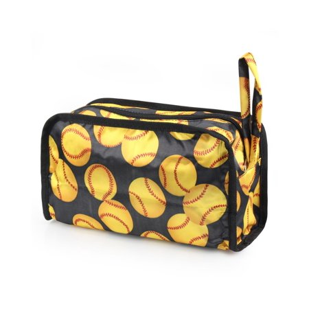 Travel Makeup Bag Pencil Case Cosmetic Storage Organizer Bag Toiletry Zip Pouch w/Wrist Handle by Zodaca ()