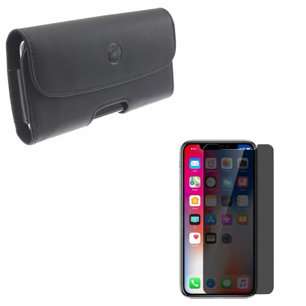 iPhone XS/X/11 Pro - Tempered Glass Privacy Screen Protector w Leather Case Belt Clip - Curved Anti-Spy Anti-Peep 3D Edge Case Friendly, Holster Cover Pouch Loops Carry for iPhone XS/X/11 Pro