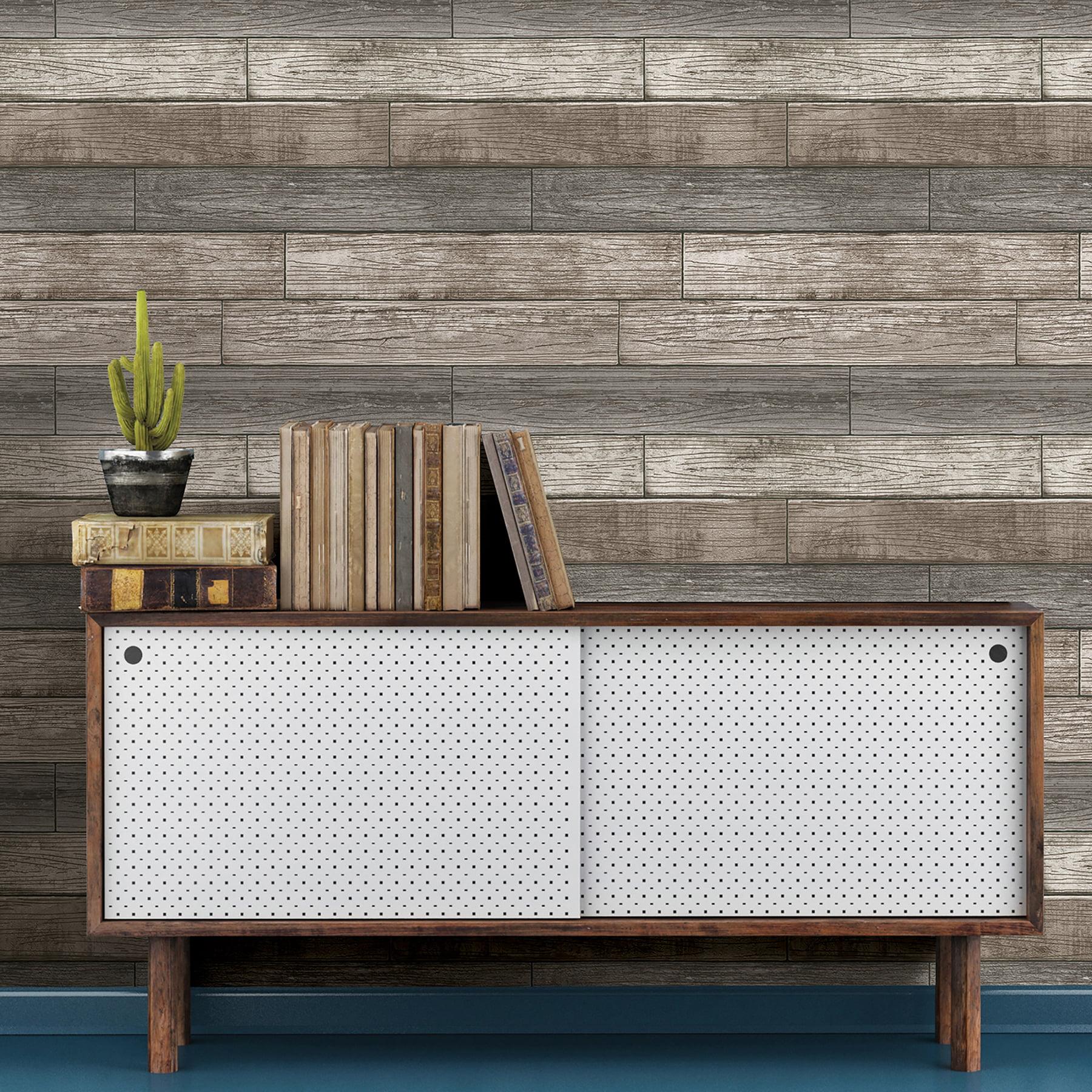 Nuwallpaper Reclaimed Wood Plank Natural Peel Stick Wallpaper Walmart Com Walmart Com