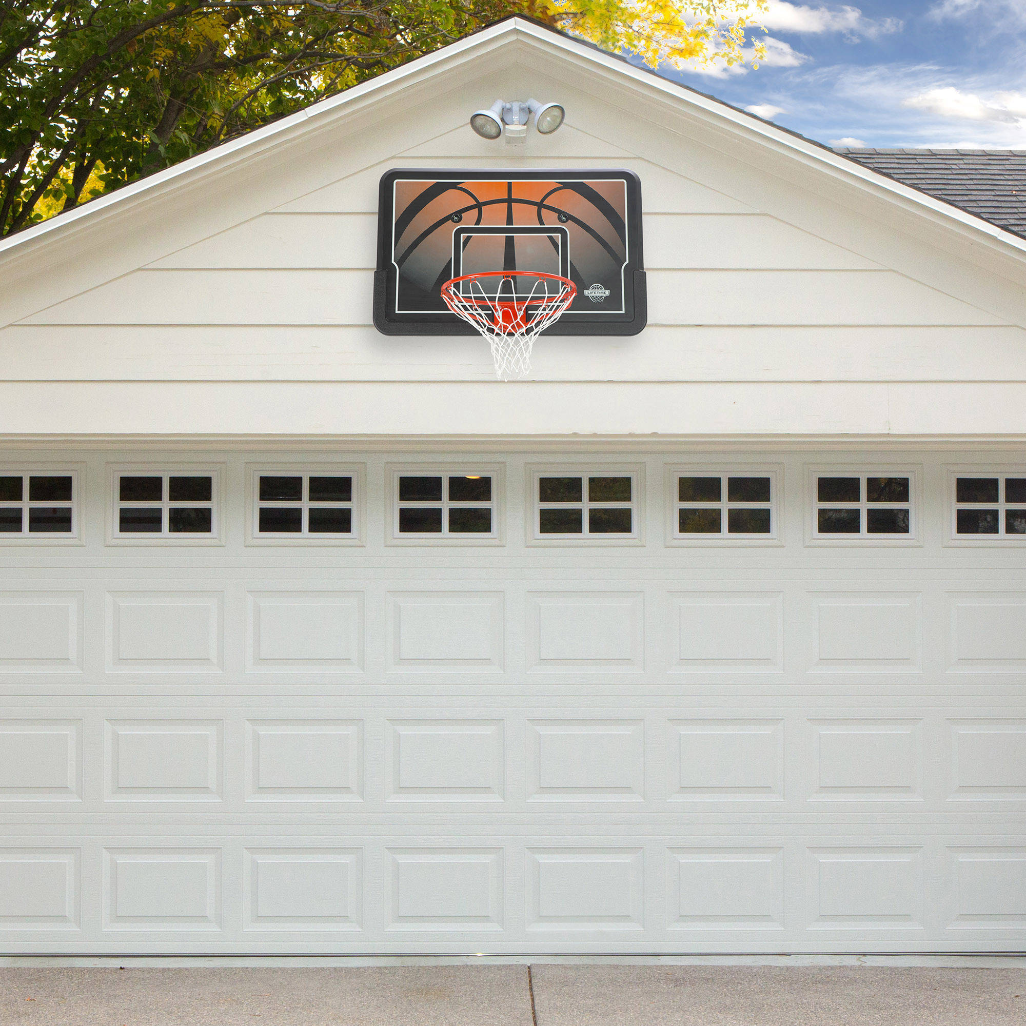 Basketball hoop and backboard 44 impact and rim combo for Basketball garage