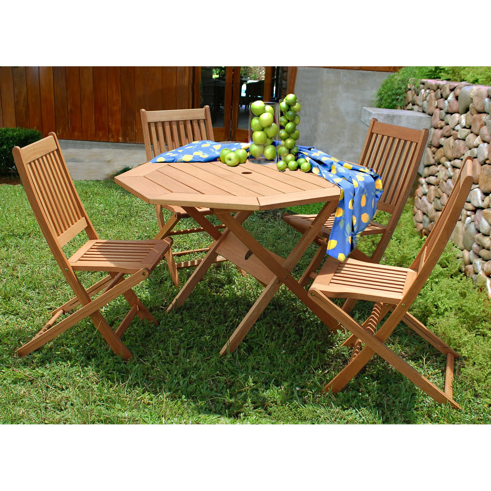Milano 5-piece Eucalyptus Octagon Patio Dining Set, Brown