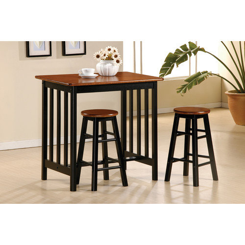 World Imports Furnishings 3 Piece Bar Table Set in Black and Cherry
