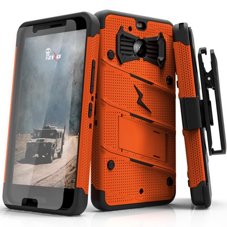 Zizo BOLT Series compatible with HTC Bolt with [Screen Protector] Kickstand [Military Grade Drop Tested] Holster Belt Clip