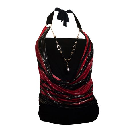 Glitter Top (eVogues Plus size Glitter print Necklace accented O-ring Top)