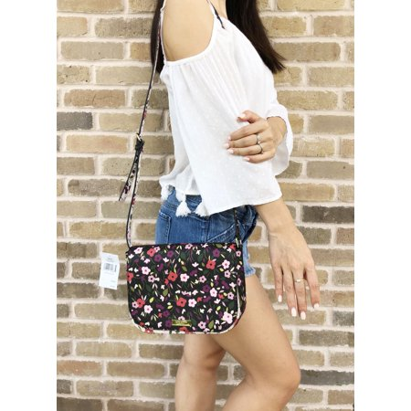Kate Spade Laurel Way Boho Floral Large Carsen Crossbody Black Multi ()