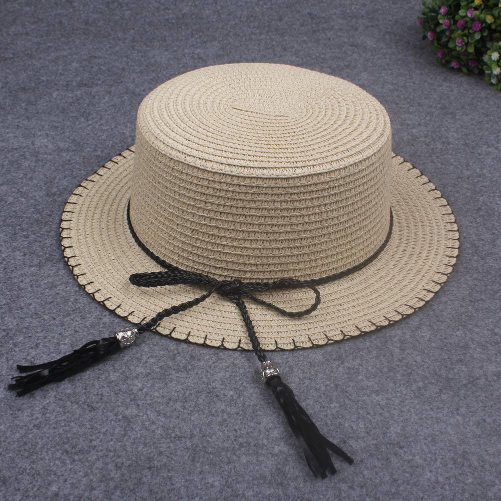 Flat Straw hat Boater hat Girls Bow Summer Hats Beach Flat Panama Straw hat