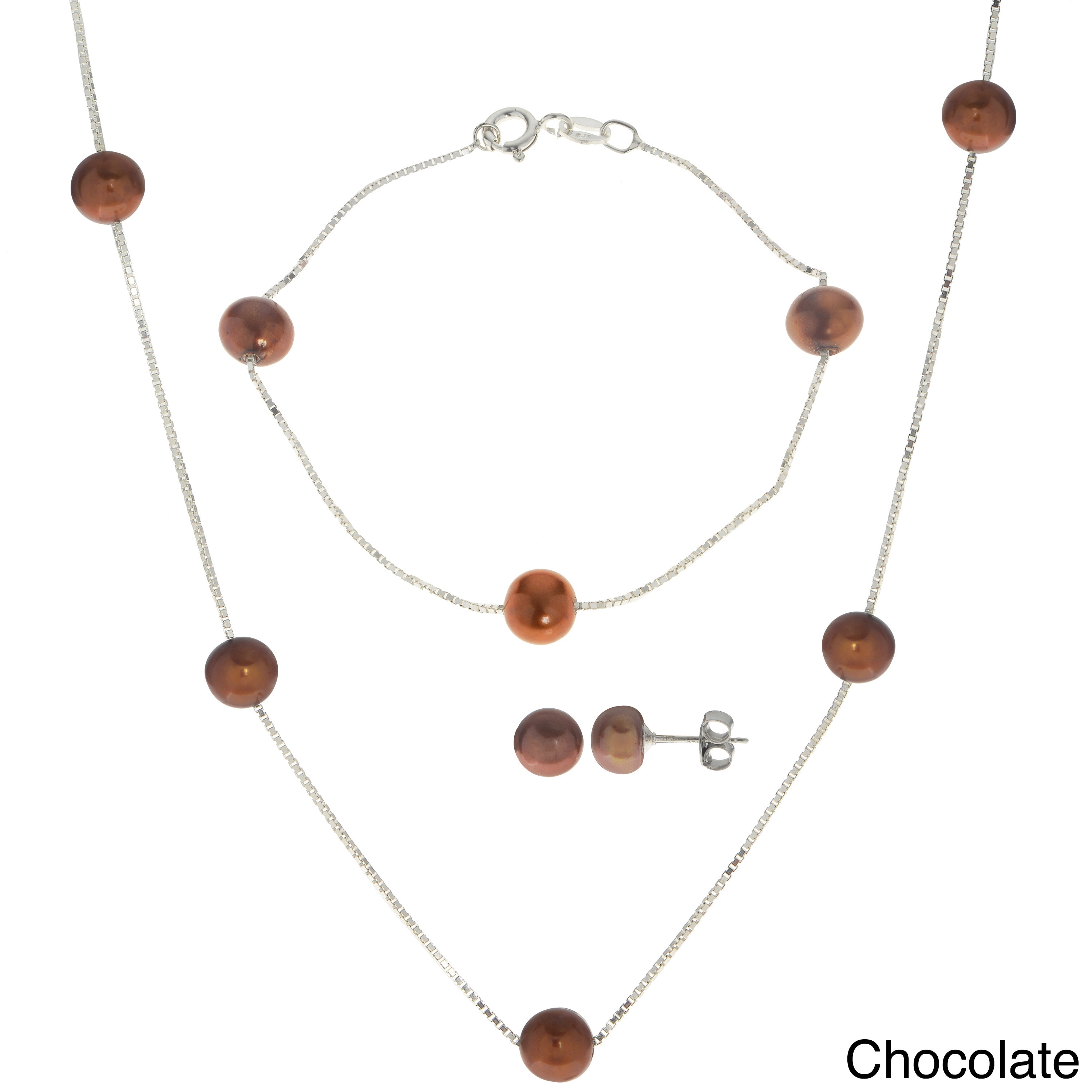 Imperial-Deltah Pearls For You White Sterling Silver and Freshwater Pearl 3-piece Necklace, Bracelet, and Earring Set by Overstock