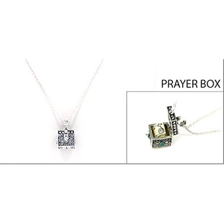Sisters Prayer Capsule Locket Necklace Christian Urn Heirloom Present Gift (Prayer Wheel Necklace)
