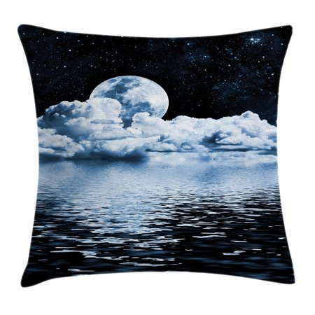 Moon Throw Pillow Cushion Cover, The Moon Setting over Clouds Water Reflections Stars Universe Themed Image Print, Decorative Square Accent Pillow Case, 18 X 18 Inches, Black Blue White, by Ambesonne