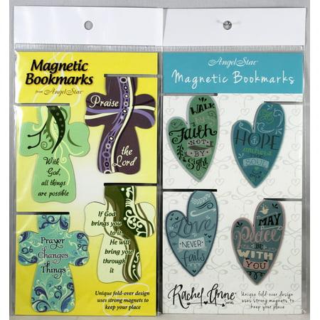 Magnetic Bookmarks 8 Set NEW Big Crosses & Heart Shape Bible Messages Fold-Over Engraved Heart Bookmark