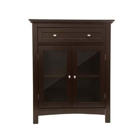 glitzhome wooden free standing storage cabinet with double doors espresso. Black Bedroom Furniture Sets. Home Design Ideas