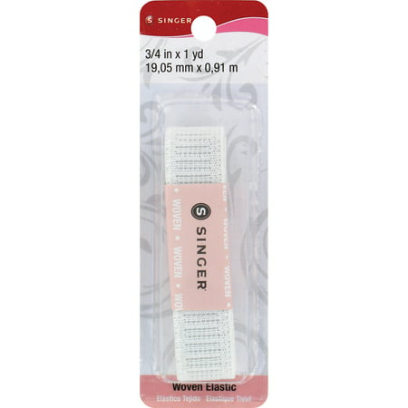 Singer 76934 Woven Flat Non-Roll Waistband Elastic Blister Card, 3/4-Inch by 1-Yard, White - image 1 de 1