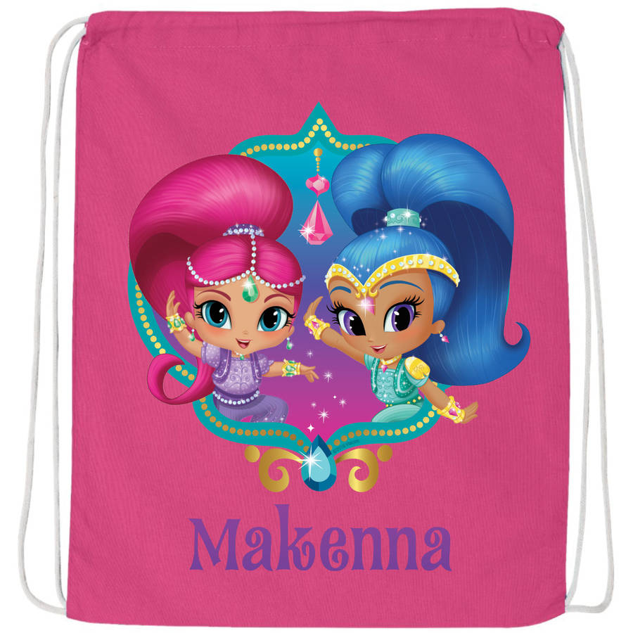 Personalized Shimmer And Shine Twinsies Hot Pink Drawstring Bag