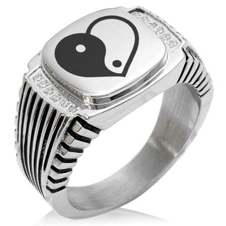 Stainless Steel Yin Yang Heart CZ Ribbed Needle Stripe Pattern Biker Style Polished Ring
