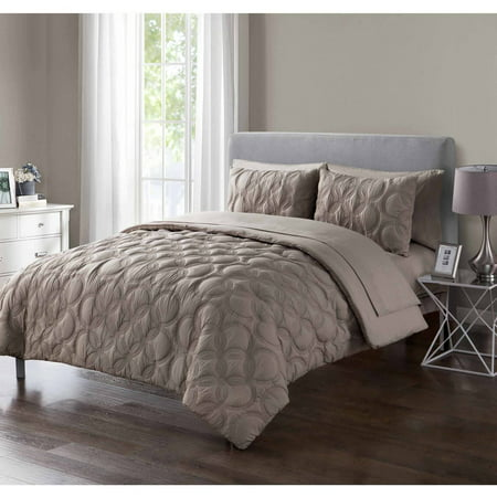 VCNY Home Atoll Embossed Circle Bed-in-a-Bag Comforter Set, Queen, T aupe ()