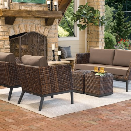 Tremendous Oxford Garden Salino 5 Piece Sable Resin Wicker Woven Sofa Club Chairs And Ottoman Poufs Chat Set Toast Cushions Ibusinesslaw Wood Chair Design Ideas Ibusinesslaworg