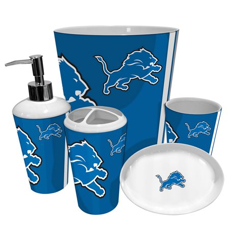 Detroit lions nfl complete bathroom accessories 5pc set for Bathroom accessories at walmart