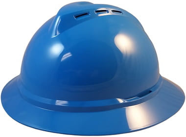 MSA Advance Full Brim Vented Hard Hats with 4 Point Ratchet Suspensions White by MSA