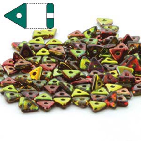 Magic Apple Czech Glass Sead Tri, Loose Beads, 4.6mmx1.3mm Thick Approx 9gr Tube - Apple Beads