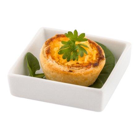 Mini Porcelain Dish - Square Appetizer Dish, Square Dessert Dish - 2.64 Inches - White 10ct Box