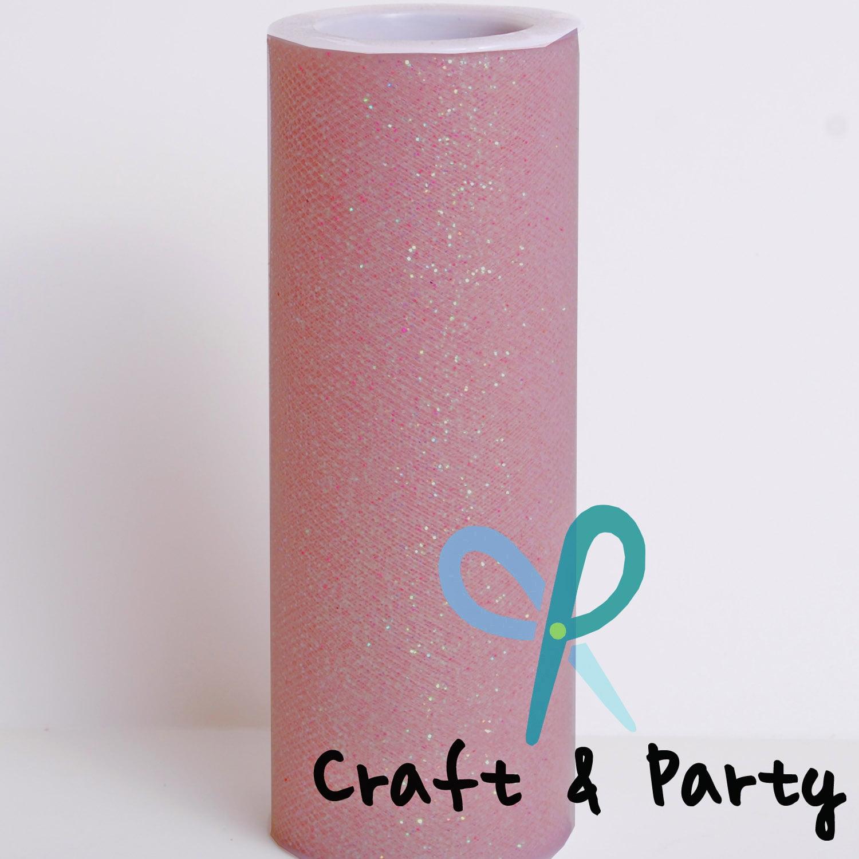 "2 Pcs Glitter Rose Gold Tulle 6""x 75 ft / 25yd spool gift bow wedding decoration tutu"