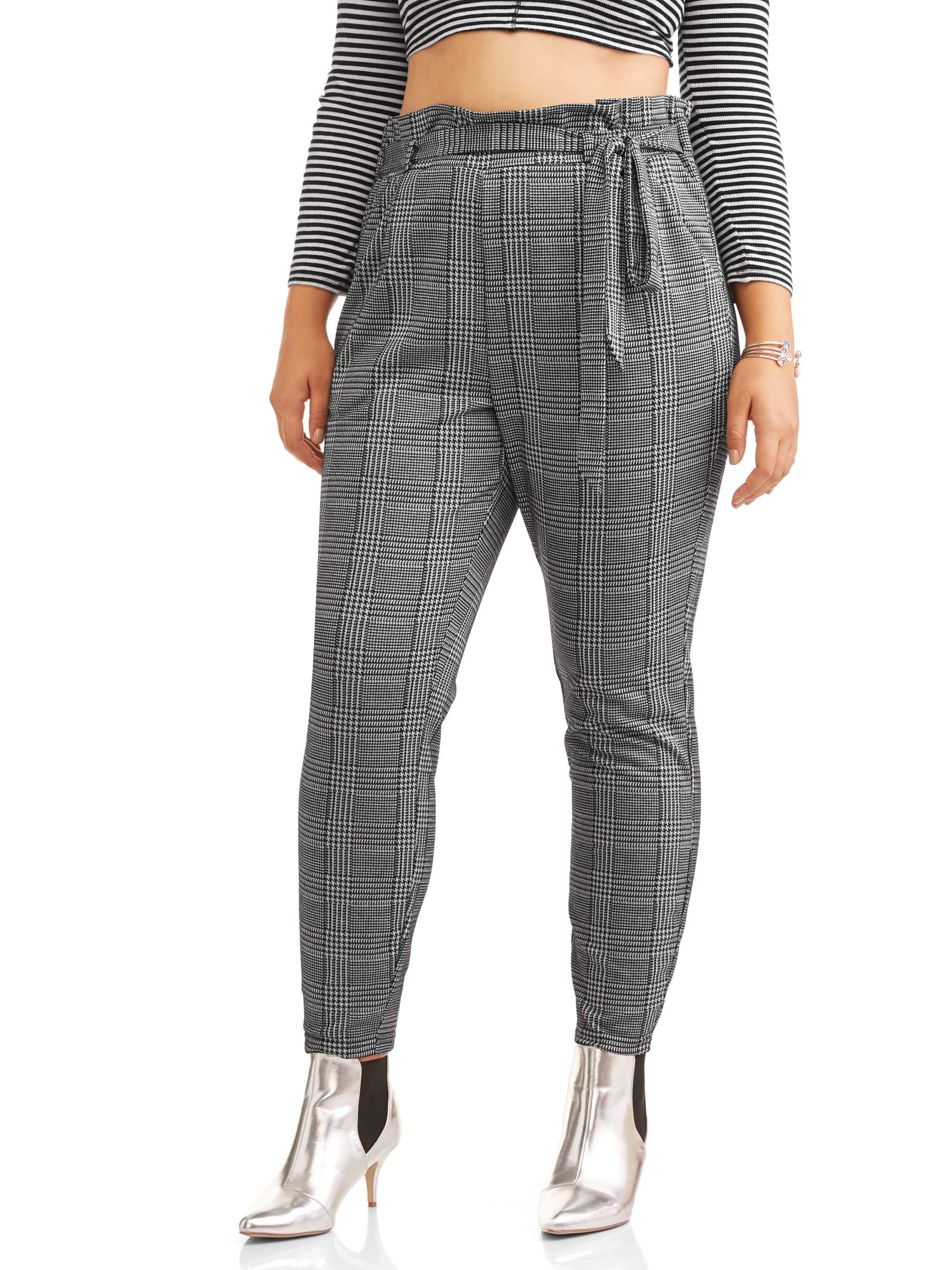 Juniors' Plus Size Double Knit Paperbag Waist Pants