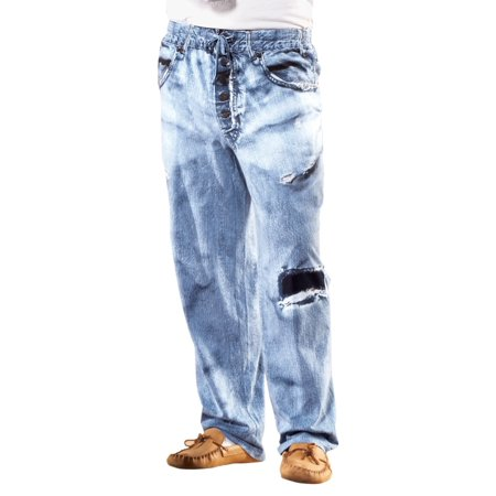 Mens Faux Denim Soft Cotton Lounge Pant - Drawstring Waistband for Great Fit and Maximum Comfort, Medium, Blue