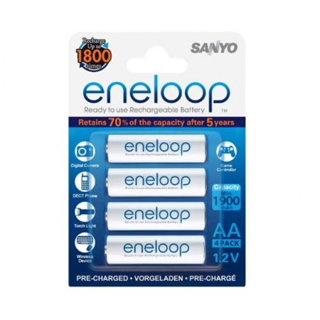 Sanyo Eneloop Rechargeable (Sanyo Eneloop AA Pre-Charged Rechargeable Batteries, 1800 Cycle (4 Pack))