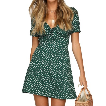 Sexy Women Short Sleeve Wrap V-neck Boho Floral Mini Dress Ladies Summer Holiday Sundress Green S Best Holiday Dresses