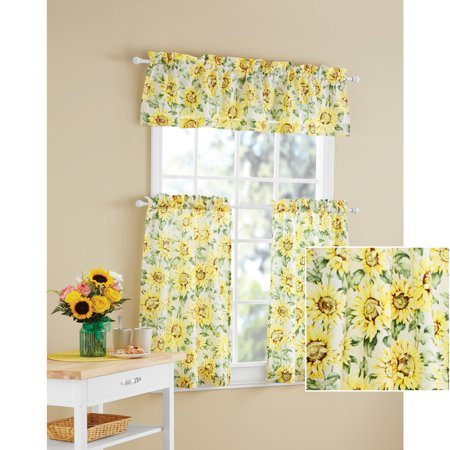 Mainstays Sunflower 3 Piece Kitchen Curtain Tier And Valance Set