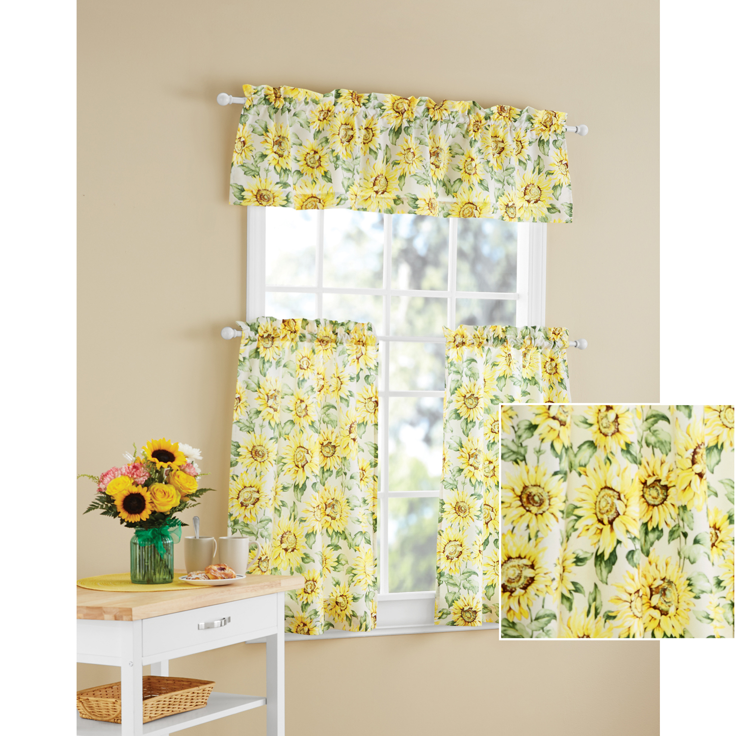 Mainstays Sunflower 3-Piece Kitchen Curtain Tier and Valance Set