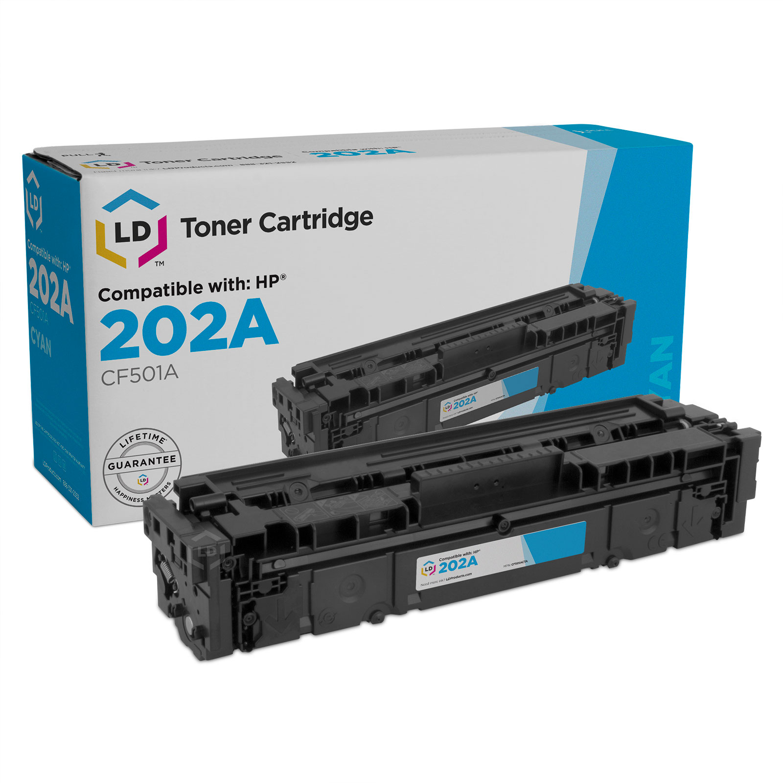 LD Compatible Replacement for HP 202A / CF501A Cyan Toner Cartridge for use in Color LaserJet M254dw & M281dw