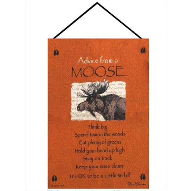 Manual Woodworkers and Weavers HWAMSE Advice From A Moose Tapestry Wall Hanging Vertical 17 X 26 inch by Manual Woodworkers & Weavers