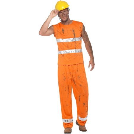 Mens Coal Miner Big John Blaze Orange Dirty Work - Blaze Halloween Display